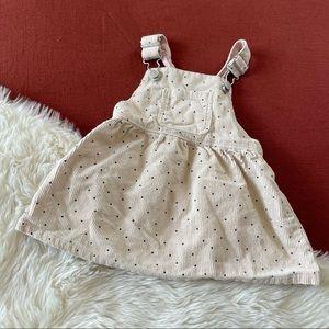 Zara polka dot cream corduroy overall dress 6/9
